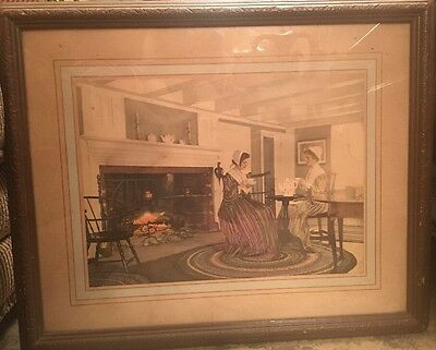 Antique Vintage Wall Hanging Victorian Tea Picture Early 1900s Lithograph Print