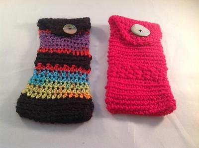 Handmade Crocheted Glasses Holders with Mother of Pearl Button