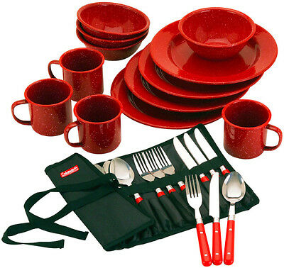 Coleman 24-Piece plates Red Enamel Camping Dishes Dinnerware Cookware Outdoor