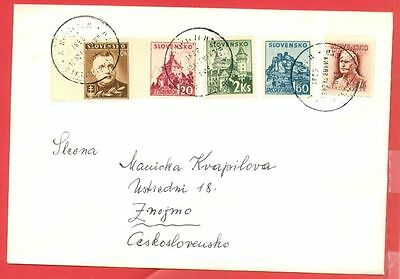 Slovakia 5 diff stamp used on cover gtc