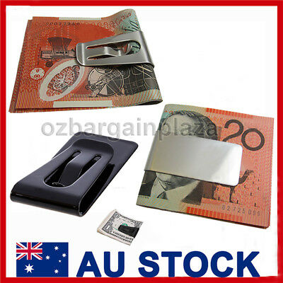 MONEY CLIP Polished Solid Stainless Steel Holder Clamp Mens Wallet Moneyclip