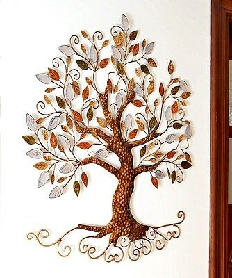 Tree of Life Metal Hanging Wall Art Leaves Sculpture Home Garden Decoration Gift