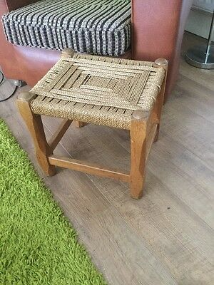 ~Antique ~Vintage ~Original ~Stool in Oak with Woven Top in VGC~ Irish