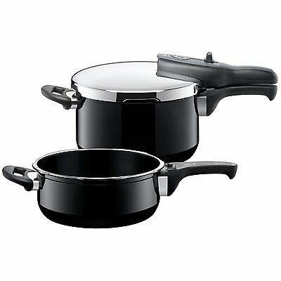 Silit Sicomatic T-Plus Duo Pressure Cooker and Saucepan Black - Brand New