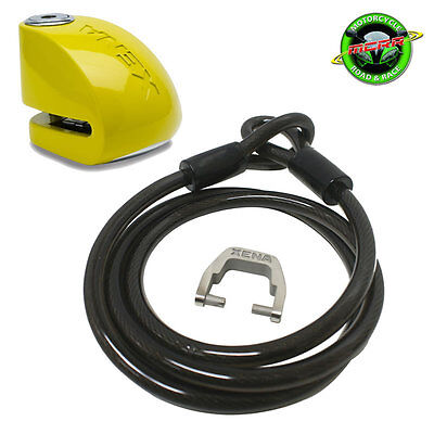Xena 1.5m Cable and XX6 Alarm Motorcycle Disc Lock 120db