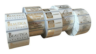 100 Gold Metallic Personalised Clear Gloss Labels