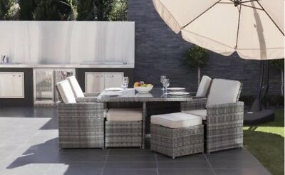 GARDEN FURNITURE PATIO OUTDOOR 8 SEATER RATTAN CUBE DINING SET(Cheapest On Ebay)