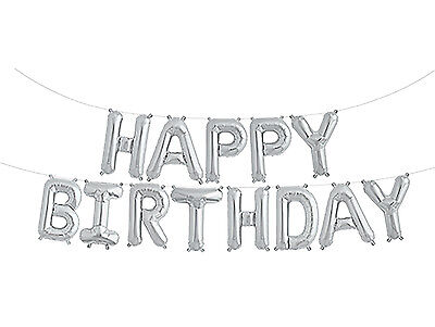 """NEW SELF INFLATING Happy Birthday Balloon Bunting 10"""" Foil Letters Banner Silver"""