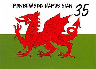 WELSH FLAG Personalised Birthday Card WELSH / ENGLISH MUM DAD NAN GRANDAD