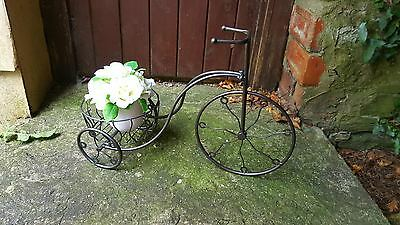 Metal Bicycle planter charcoal finish Outdoor Garden Flower Holder Bike
