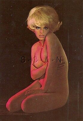 Original 1950s-60s German Nude Pinup PC- Blond Sits on Floor in the Shadows