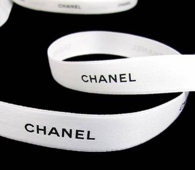 """100% Authentic White Chanel Black Lettering Gift Wrap Hairbows Ribbon 1/2""""W"""