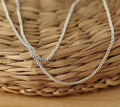 925 Sterling Silver 1.4mm CURB Chain Necklace Solid Various Lengths UK Supplier