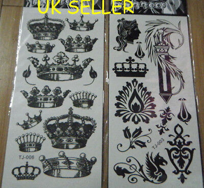 BLACK TRIBAL CELTIC KING QUEEN CROWN BRITANNIA TEMPORARY TATTOOS 180mm x 85mm