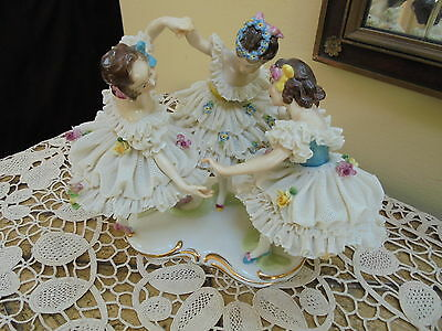 Antique Volkstedt Dresden Lace Figurine Three Dancing Ballerinas~ Germany