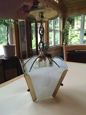 Vintage Clear Frosted Glass Ceiling Light Fixture Retro Shade Art Deco