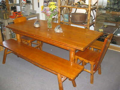 Rittenhouse Rustic camp Cedar Table two benches and two chairs ~ Circa 1940's