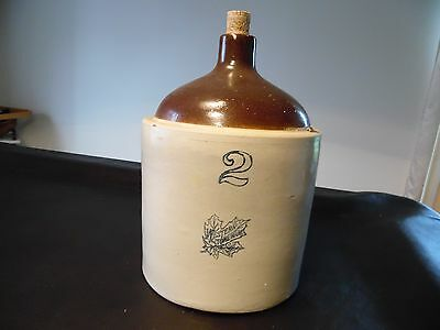 Vintage Western Stoneware Jug w/Cork 2 Gallon with Handle