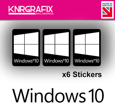 KNR7733 6x Black - Windows 10 Sticker Decal Badge PC Repair