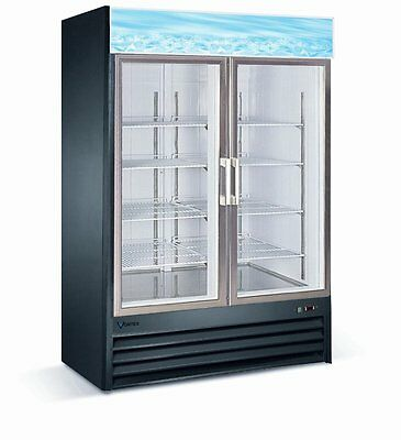 Vortex Refrigeration 2 Glass Door, 49 cubic feet, Merchandiser Freezer - Black