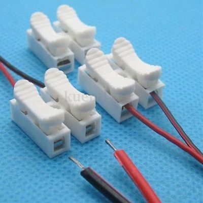 10pcs-2P Spring Connector Wire Clamp Terminal Block No Welding For LED Strip