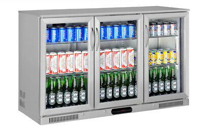 3 Door Bar Fridge Beer Three Triple Display Alfresco Under Bench Stainless Steel