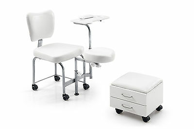 Pedicure Chair + Nail Table + Manicure Tray + Foot Seat Stool Leg Rest Massage