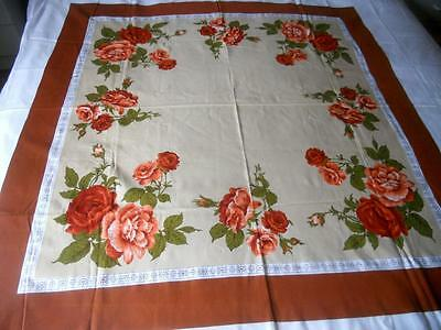 Unused Vintage Retro 1960's Cotton Table Cloth Peach Burnt Orange Roses