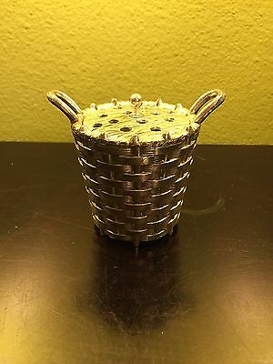 Vintage F B ROGERS Potpourri Holder Bowl Canister Silver Plate Basquet w/Lead