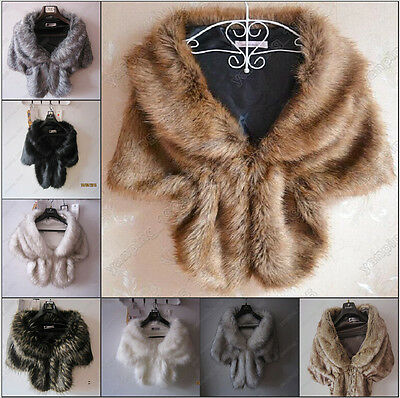 NEW High-grade Elegant Bridal Wedding Faux Fur Long Shawl  Wrap Shrug Scarf