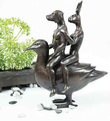 GILLIE AND MARC-direct from the artists-authentic bronze sculpture duck riders
