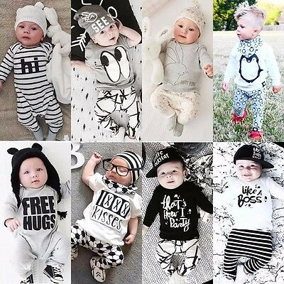 2pcs Toddler Infant Baby Boy Girl Clothes T-shirt Romper Outfits Set Size 000-2