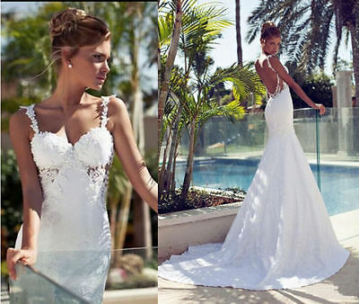 Sexy White Straps Lace Applique Wedding Dress Bridal Ball Gowns Back Open Custom
