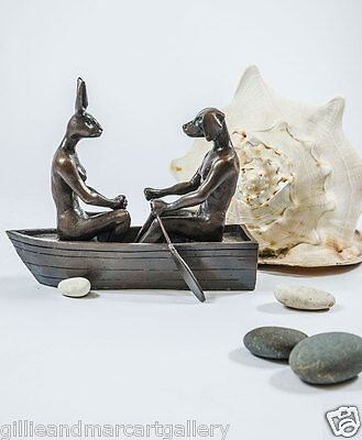 GILLIE AND MARC-direct from the artists-authentic bronze sculpture boat rowing