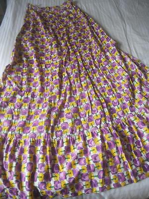 Vintage 1970's Verity Brand Maxi Skirt Purple & Yellow Printed Cotton Size 14