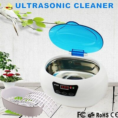 Multi Purpose Ultrasonic Sonic Wave Cleaner Jewelry Glasses Watch Cleaning Blue
