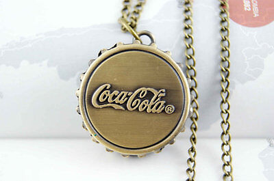 Antique Vintage Coca-Cola Bottle Top Quartz Necklace Pocket Watch Gift Idea Uk