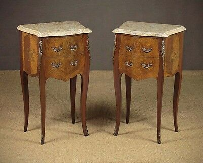 Pair of French Marble Top Bedside Cabinets c.1930.