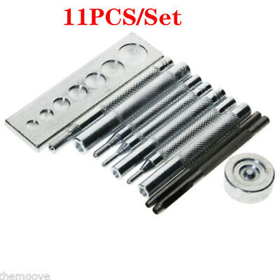 11pcs DIY Leather Working Tools Die Punch Hole Snap Rivet Button Setter Base Kit
