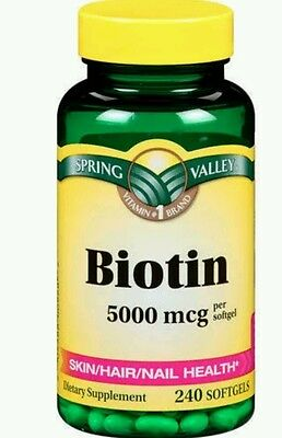 Spring Valley Biotin Softgels, 5000 mcg, 240 count Exp Date 02/18+