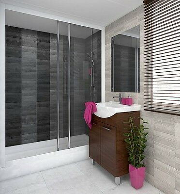 (4 PACK) Vox Modern Anthracite Small Tile Effect Bathroom Cladding Wall Panels