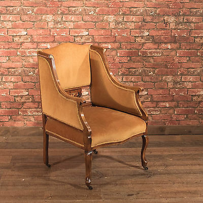 Antique Armchair, Edwardian Drawing Room Arm Chair, English, Mahogany, c.1910