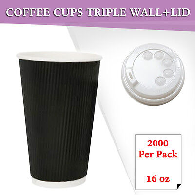 Disposable Coffee Cups+Lids 1000 Pc/Pack 16 oz Triple Wall Take Away Coffee Cup