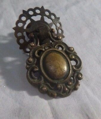 Antique Vintage Brass Ornate Drop Ring Dresser Drawer Pull  H 528