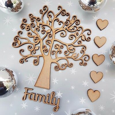 Wooden Family Autumn Leaf Tree blank Christmas Craft Arts MDF Box + heart family