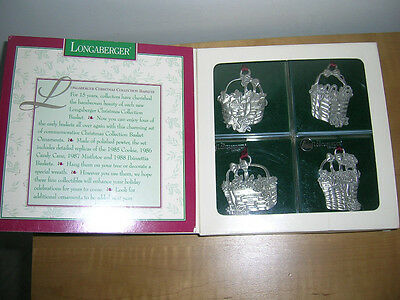 Longaberger Pewter 1995 Christmas Basket Collection - Ornaments or Tie-Ons