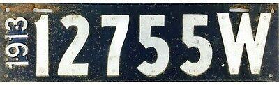 1913 Wisconsin License Plate #12755 NICE CONDITION