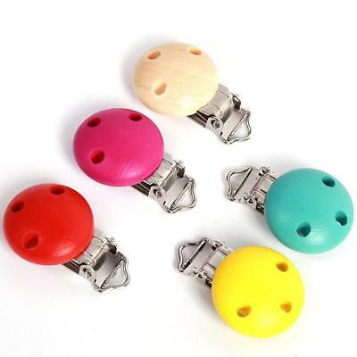 Mixed 5 Colors Baby Pacifier Clips Round Wood Metal Holders Safty Dummy Clips FI