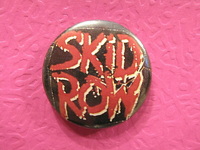 "Skid Row Vintage Badge  1"" Button Pin Uk Made"