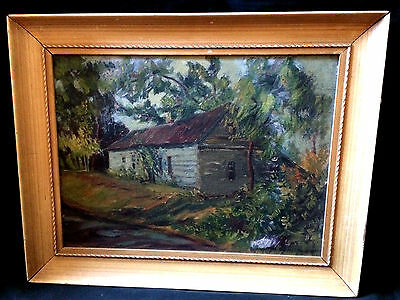 """Vintage Signed Oil On Board Painting Landscape With House Barn Farm 19.5X15.5"""""""